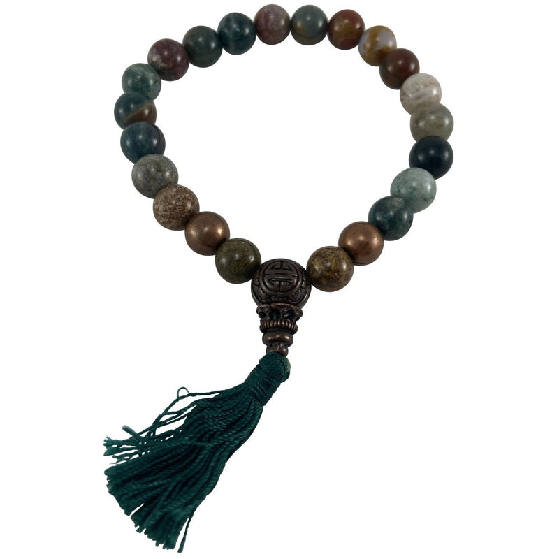 8mm Ocean Jasper w/ tassel Bracelet - East Meets West USA