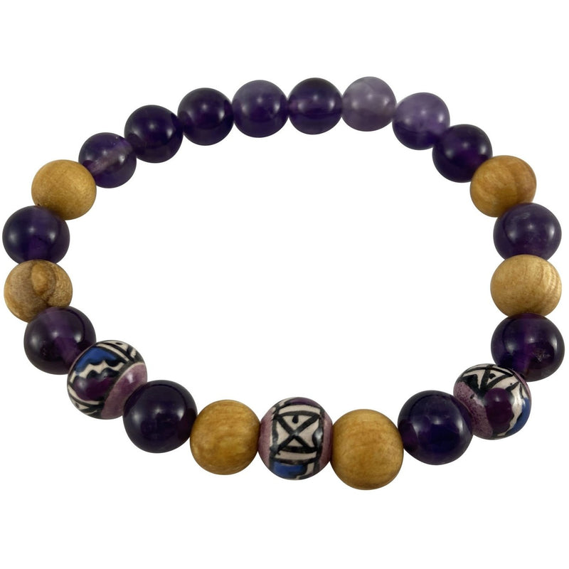 8mm Palo Santo & Amethyst Bracelet - East Meets West USA