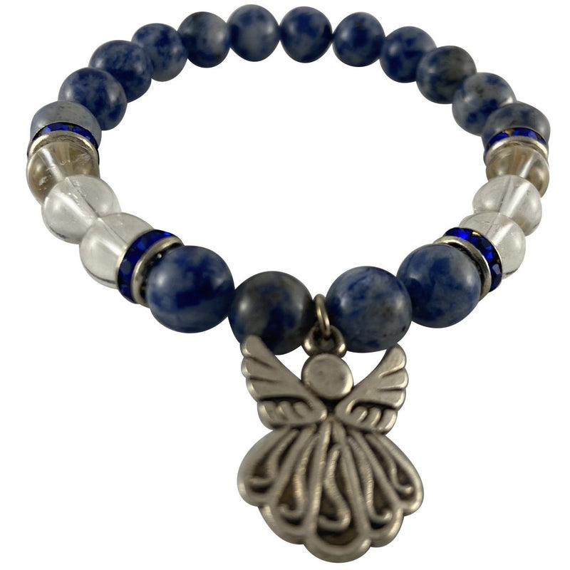 8mm Sodalite & Clear Quartz Bracelet w/ Angel Charm - East Meets West USA