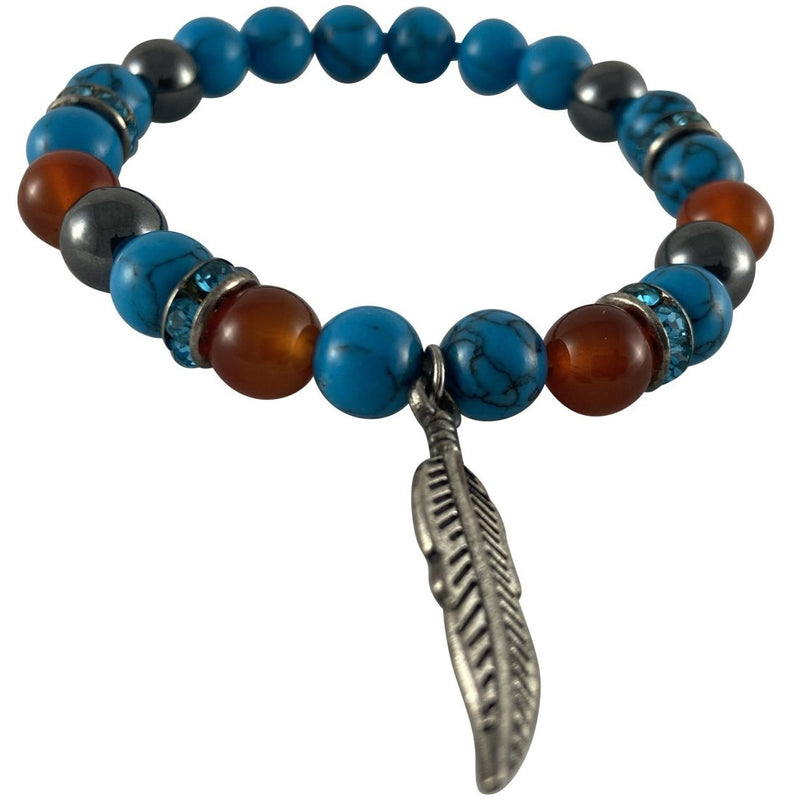 8mm Synthetic Turquoise, Carnelian & Hematite Bracelet w/ Feather Charm - East Meets West USA