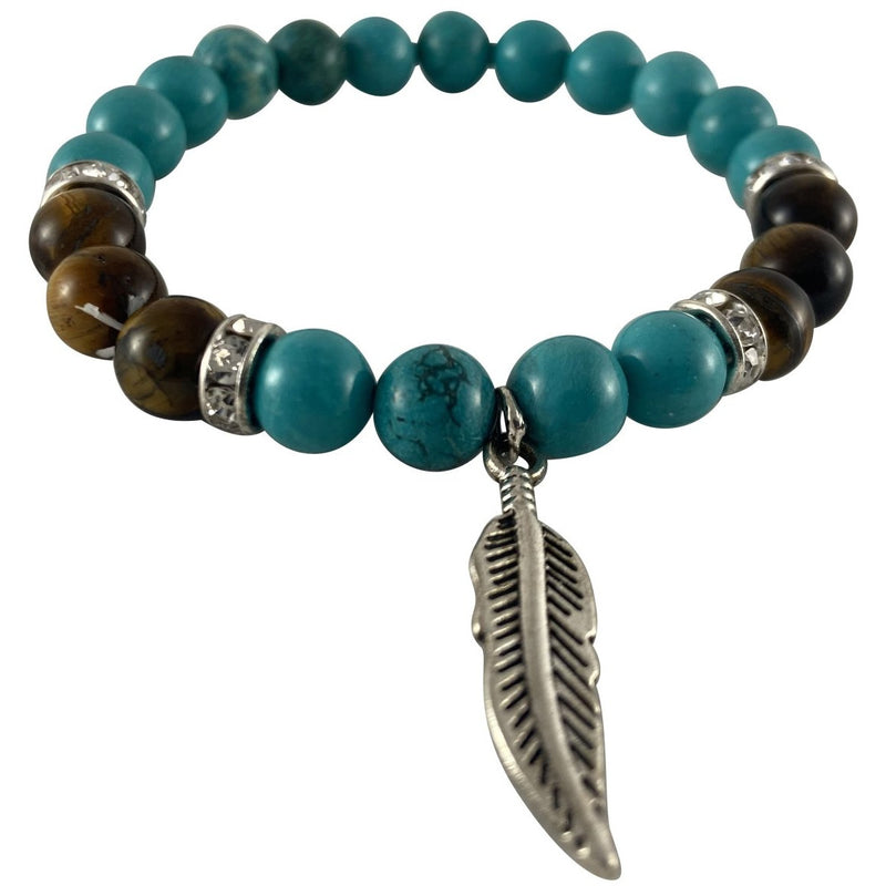 8mm Turquoise & Tigers Eye Bracelet w/ Feather Charm - East Meets West USA