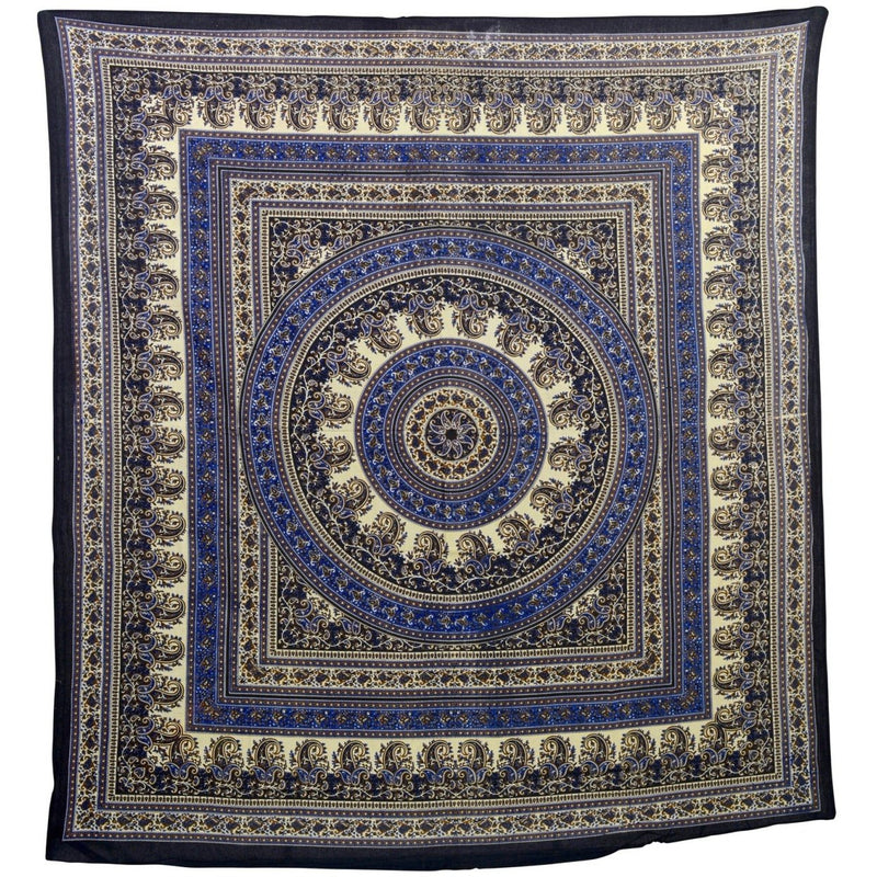 "90""x80"" Blue Paisley Tapestry - East Meets West USA"