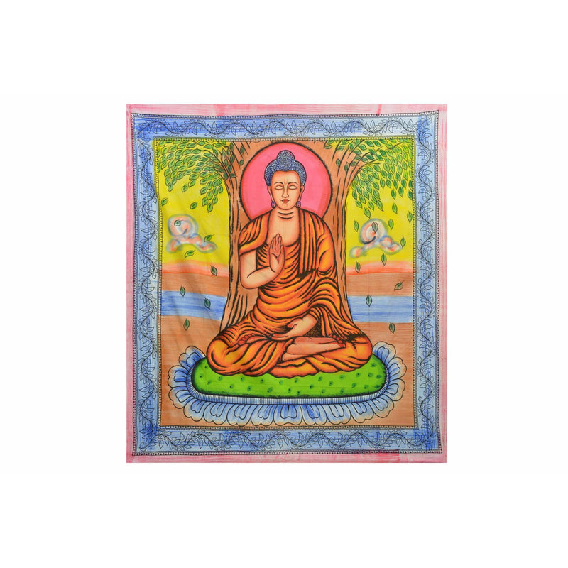 "90""x80"" Enlightened Buddha Tapestry - East Meets West USA"