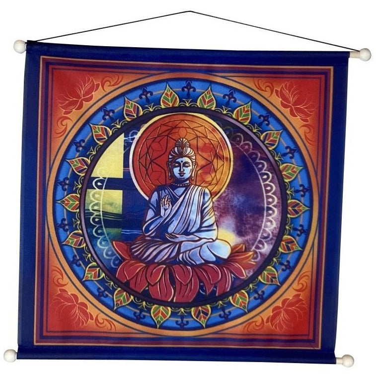 Buddha on Lotus Flower Banner - East Meets West USA