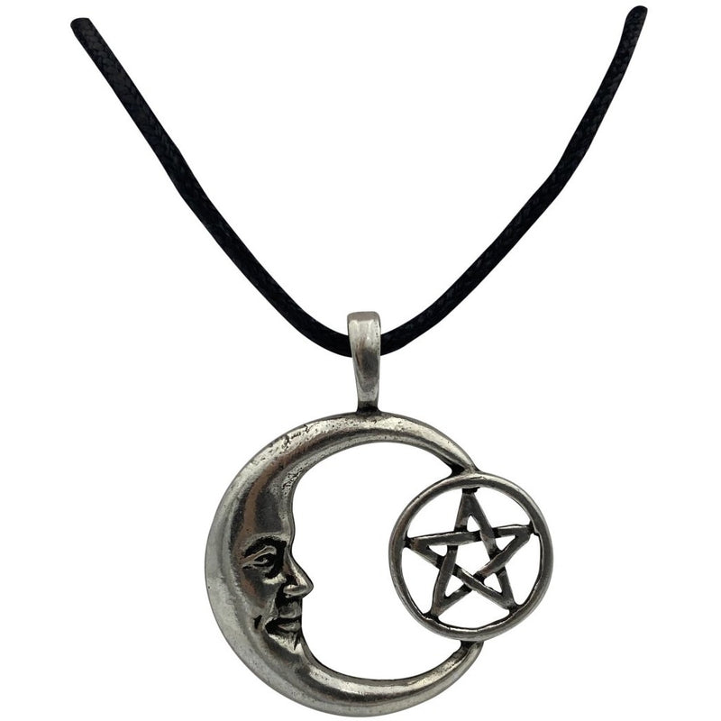 Celestial Carded Pentacle Moon Pendent Necklace - East Meets West USA