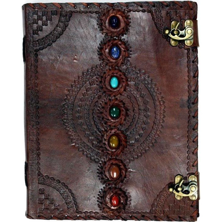 Chakra Stones Leather Embossed Journal - East Meets West USA