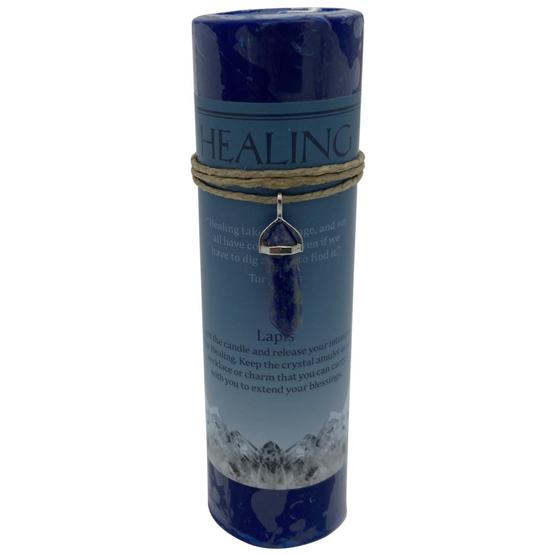Crystal Energy Healing Lapis Candle - East Meets West USA