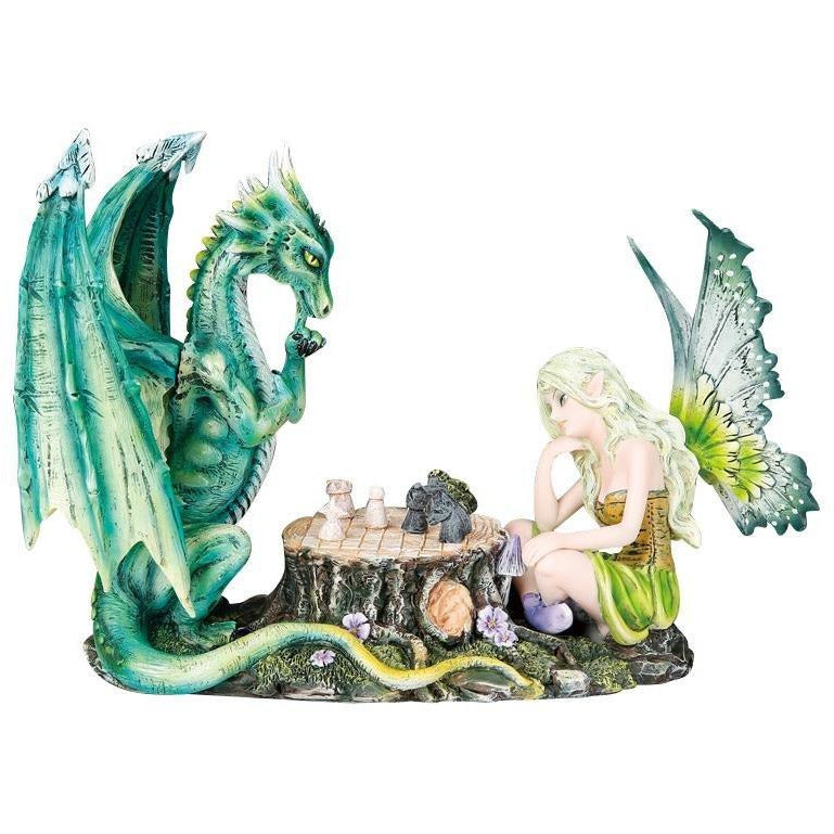 Fairy and Dragon Playing Chess Figurine - East Meets West USA
