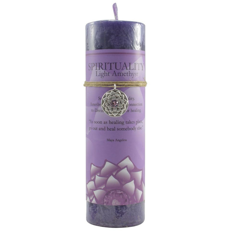 Lotus Candle: Light Amethyst with Pendant - East Meets West USA