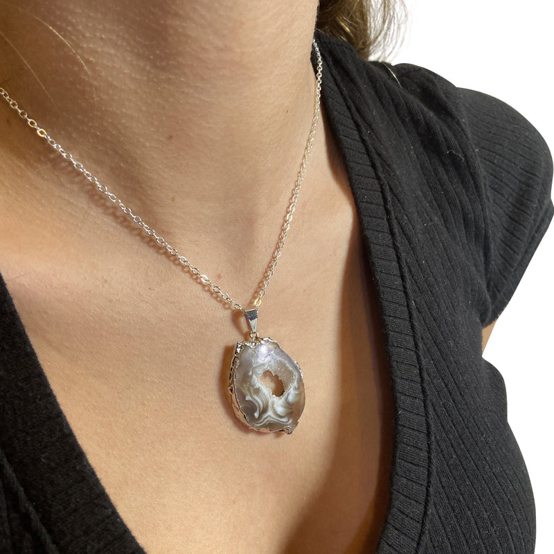 Natural Geode Slice Necklace - East Meets West USA