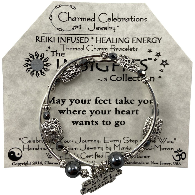 Reiki Infused Insight Bracelet: May your feet take you where your Heart wants to go - East Meets West USA