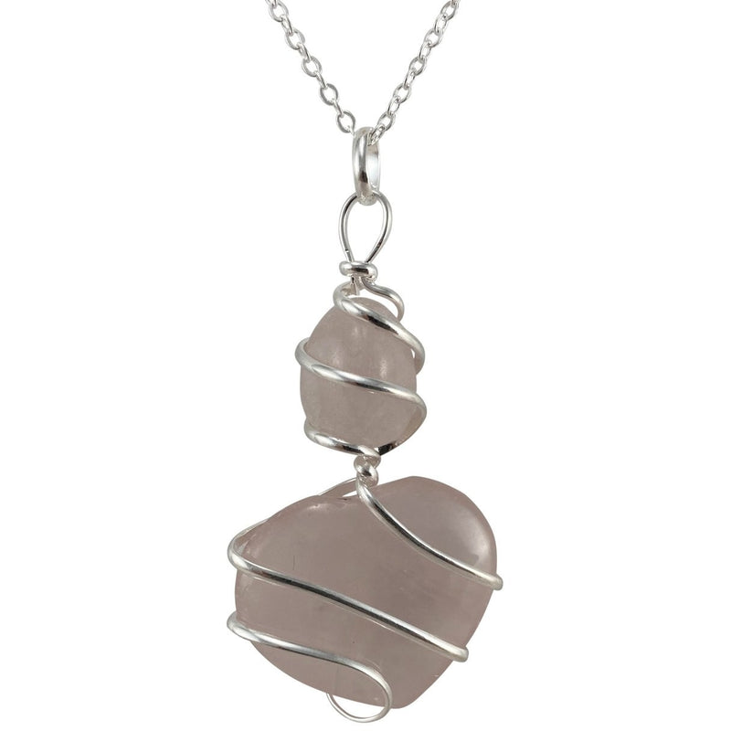 Rose Quartz Wrapped Heart & Stone Necklace - East Meets West USA