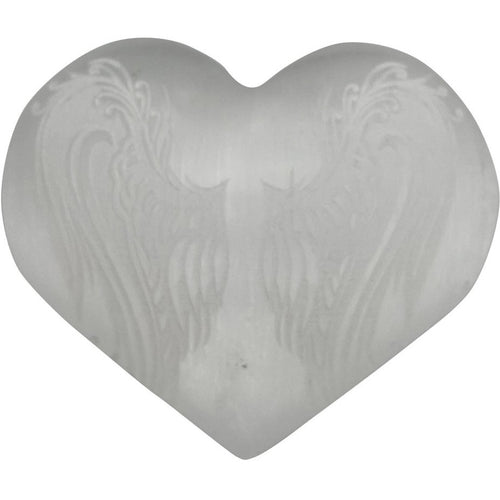 Selenite Heart Engraved Angel Wings Stone - East Meets West USA