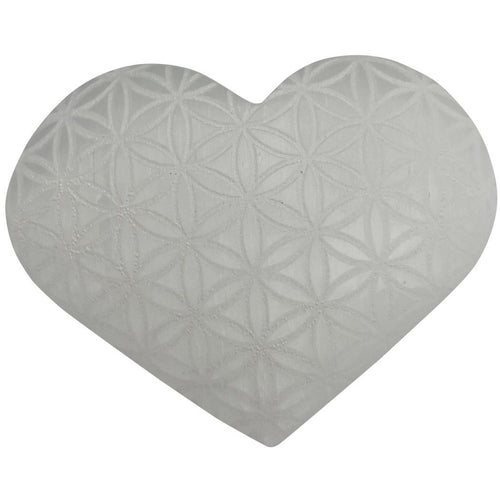 Selenite Heart Engraved Flower of Life Stone - East Meets West USA
