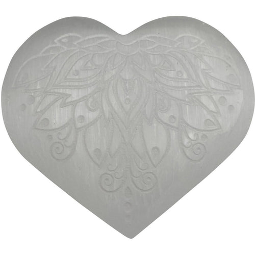 Selenite Heart Engraved Lotus Flower Stone - East Meets West USA
