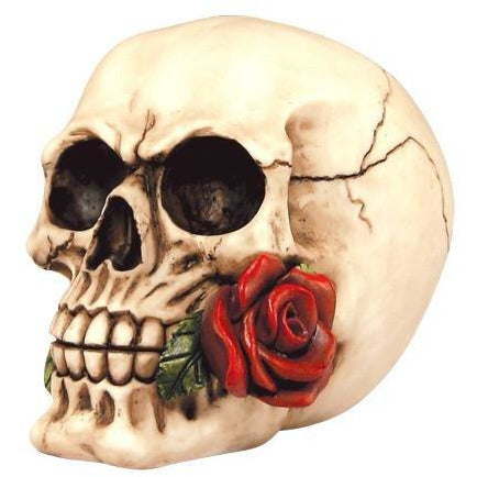 Skull w/Rose in Mouth Figurine - East Meets West USA