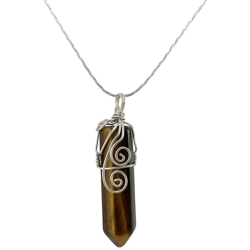 Wire Wrapped Tiger Eye Necklace - East Meets West USA