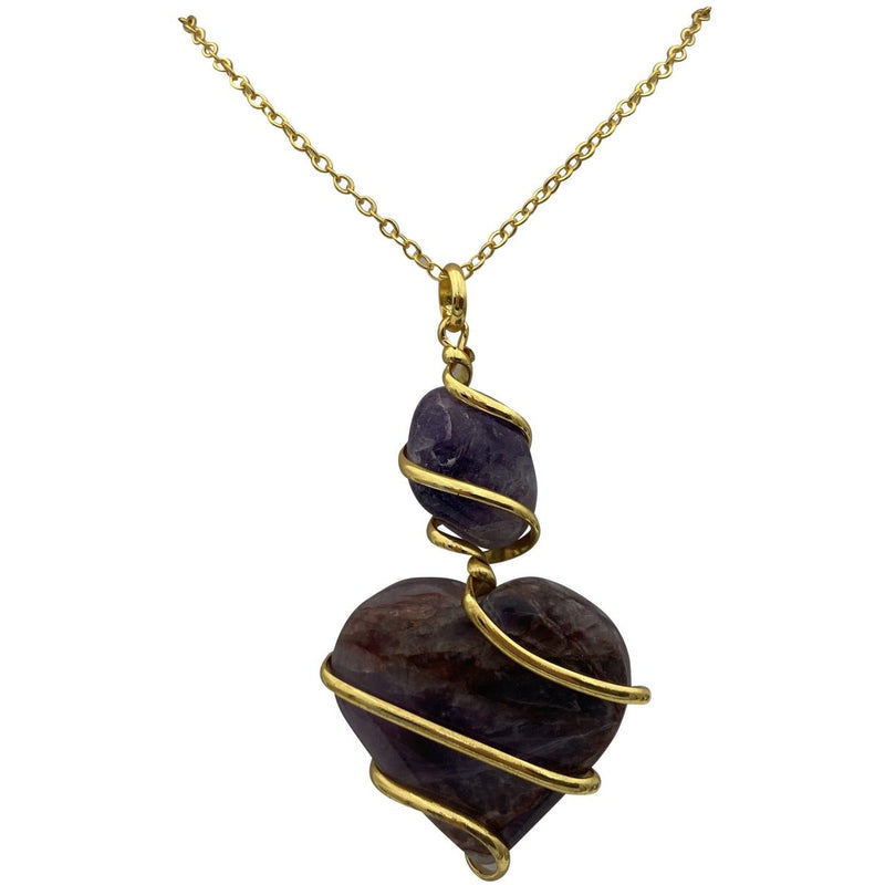 Wrapped Crystal Heart Necklace - East Meets West USA