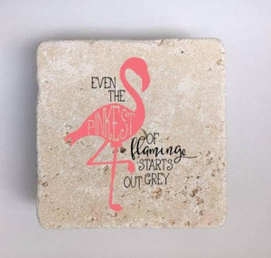 Pink Flamingo Coasters, Natural Stone, Set of 4, Even the Pinkest of Flamingo starts out grey - JensScraps