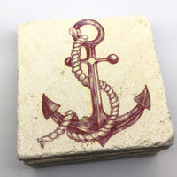 Nautical Red Anchor, Natural Stone Coaster Set of 4, Beach House Decor - JensScraps