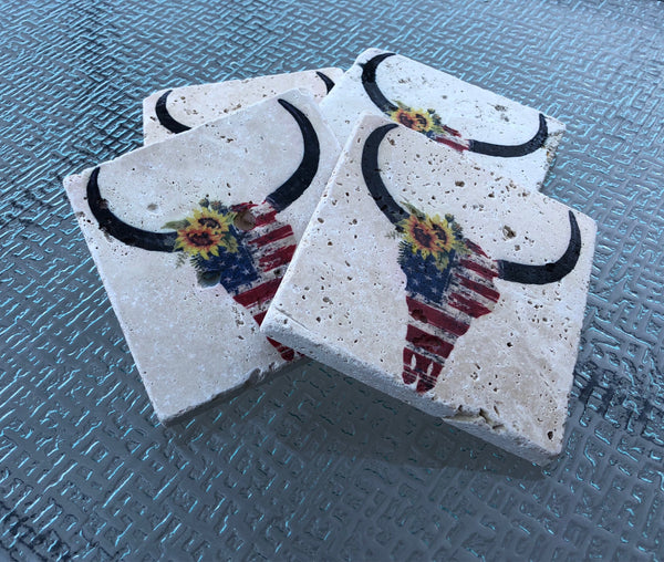 Skull With American Flag Coasters Natural Stone Coasters Set of 4 with Full Cork Bottom Cow Skull - JensScraps