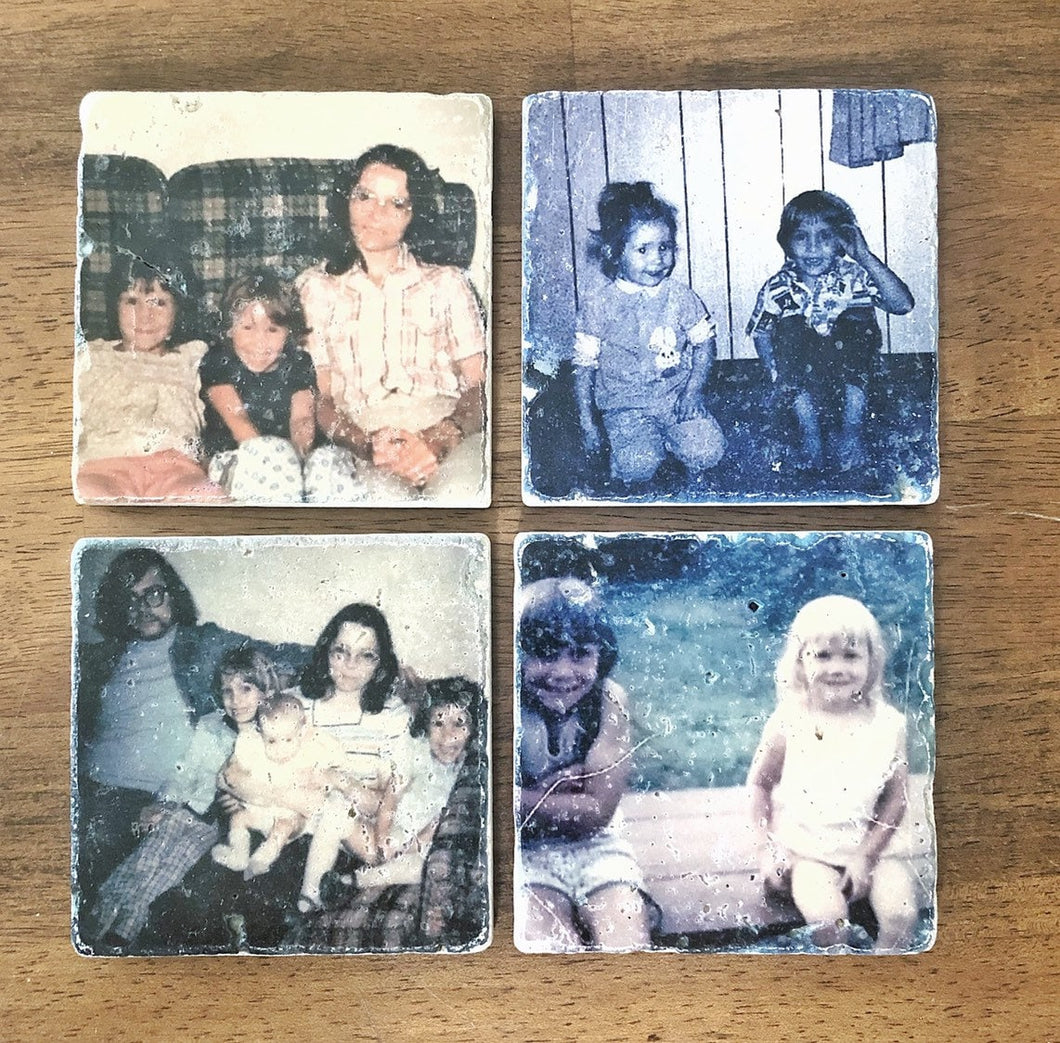 Vintage Picture Coasters with Your Photos, Natural Stone Set of 4 with Full Cork Bottom - JensScraps