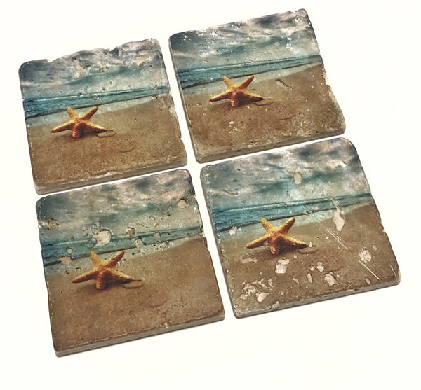 Beach Coasters, Starfish on the Beach, Natural Stone Set of 4 with Full Cork Bottom - JensScraps