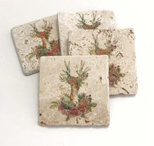 Load image into Gallery viewer, Floral Deer, Natural Stone Coasters, Set of 4, Full Cork Bottom, Rustic Decor, Farmhouse Decor - JensScraps