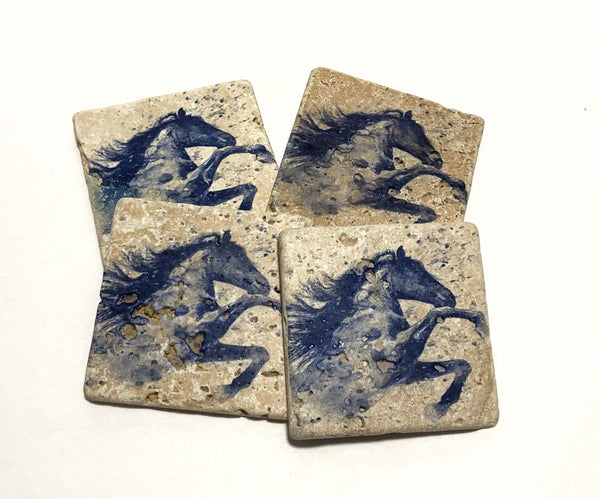 Blue Watercolor Horse, Natural Stone Coasters Set of 4 with Full Cork Bottom - JensScraps