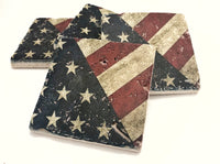 American Flag Natural Stone Coasters, Set of 4 with Full Cork Bottom - JensScraps