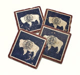 Wyoming State Flag Natural Stone Coasters, Set of 4 with Full Cork Bottom - JensScraps
