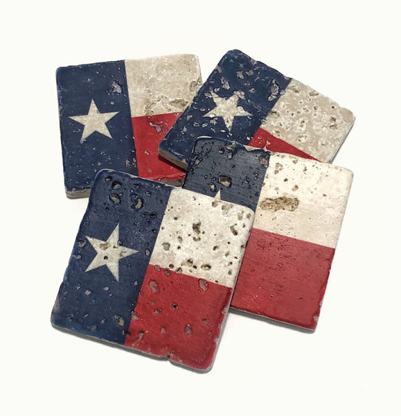 Texas State Flag Natural Stone Coasters Set of 4 with Full Cork Bottom Rustic Home Decor - JensScraps