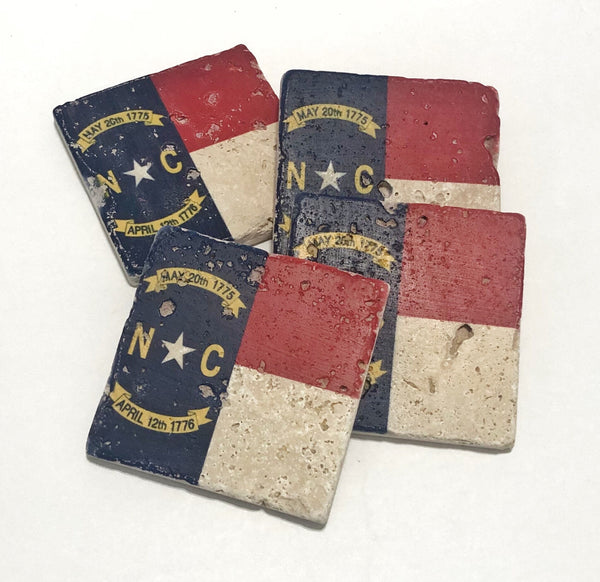 North Carolina State Flag Natural Stone Coasters, Set of 4 with Full Cork Bottom - JensScraps