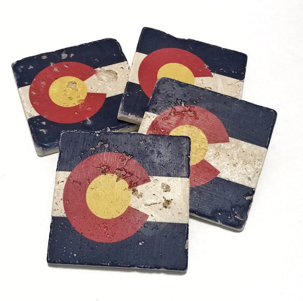 Colorado State Flag Natural Stone Coasters, Set of 4 with Full Cork Bottom - JensScraps