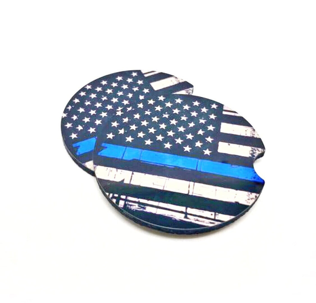 American Flag with Thin Blue Line Car Coasters Set of 2 - JensScraps
