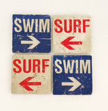 Surf Swim Natural Stone Coasters, Set of 4 with Full Cork Bottom - JensScraps