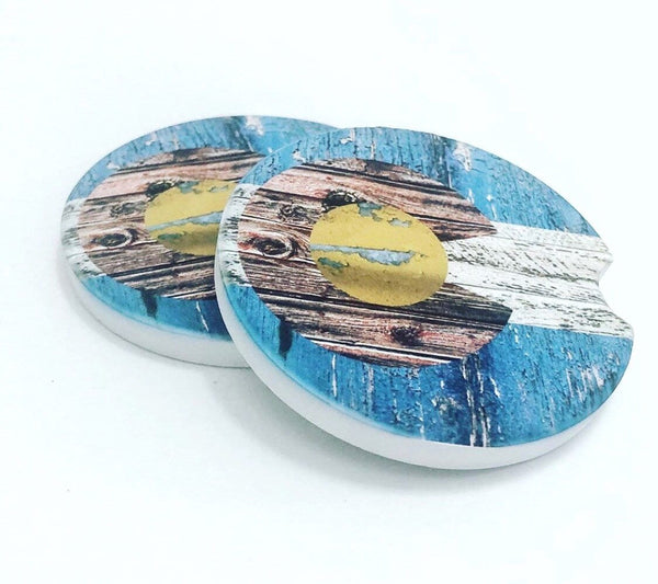 Colorado Flag with Barnwood Look Car Coasters Set of 2 - Round Coasters - Rustic - JensScraps