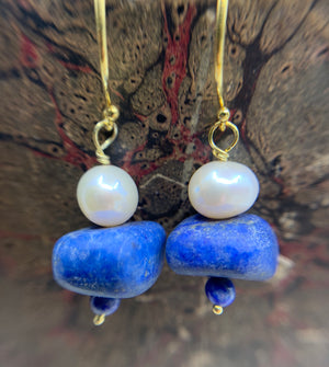 Gold Vermeil Lapis  & Pearl  Earrings
