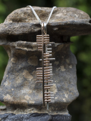 Health and Happiness , silver and gold pendant.