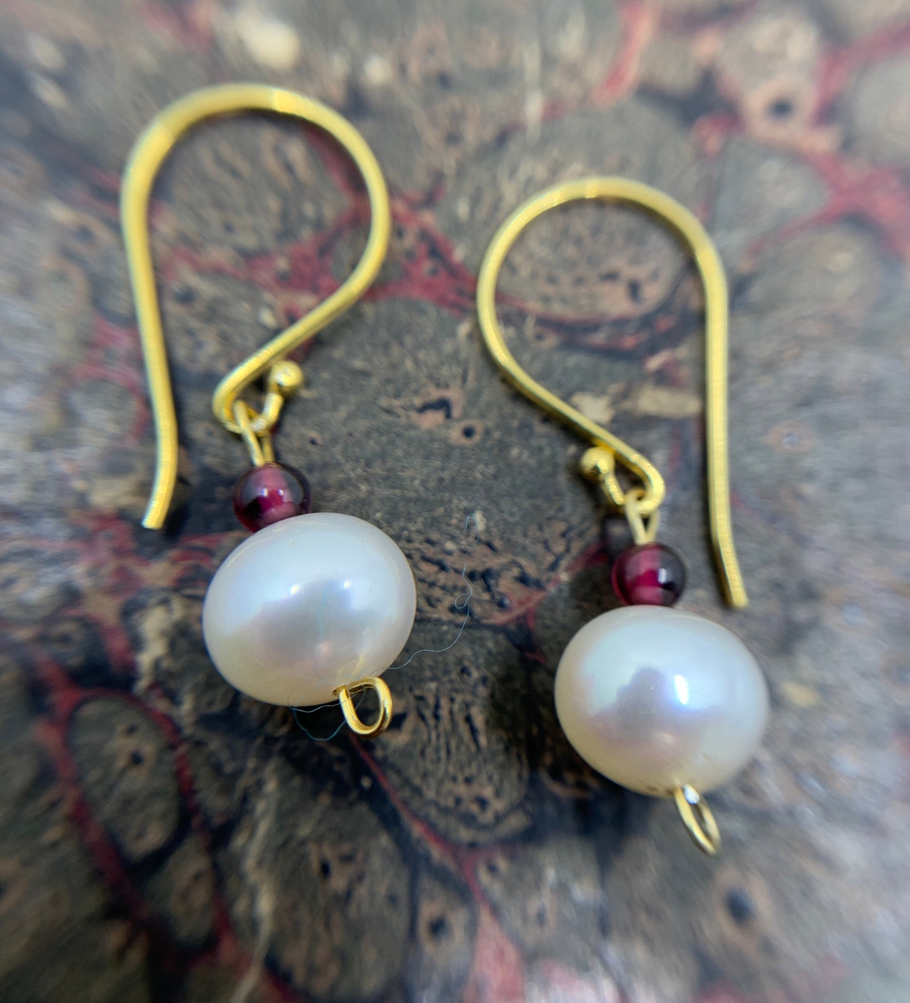 Gold Vermeil Petite Pearl & Garnet drop earrings