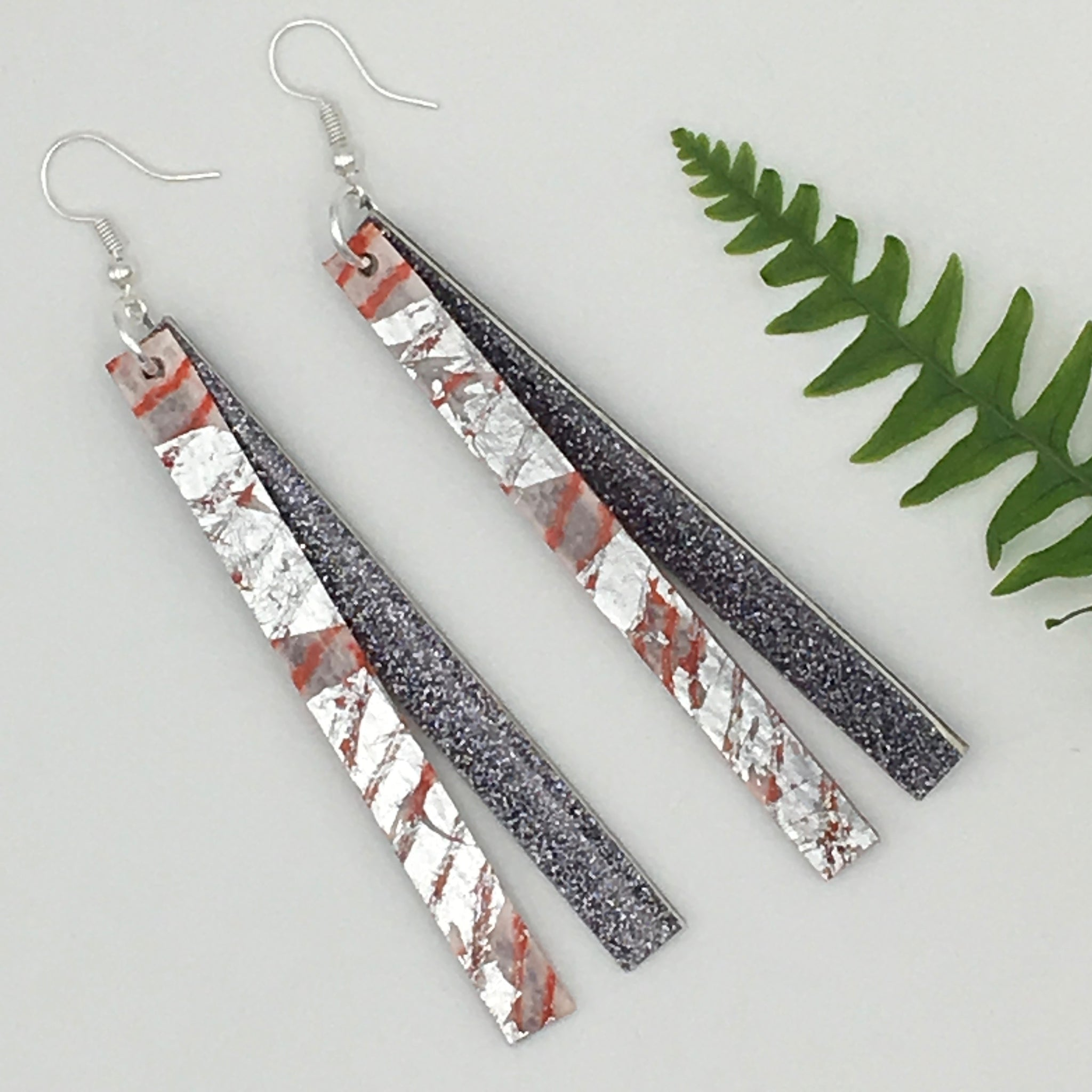 Rothlu long coral and pewter shimmer earrings necklace