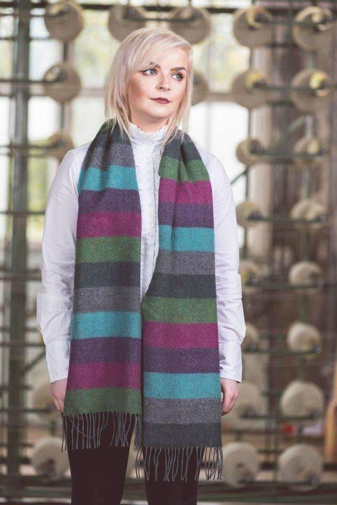 Foxford lambswool scarf /pink/purple/green stripes