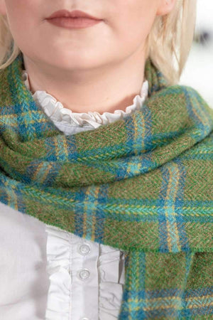 Foxord Green  lambswool check Scarf