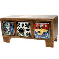 Mini chest with 3 ceramic drawers