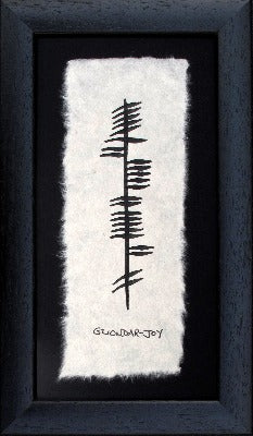 Joy- handpainted in ogham