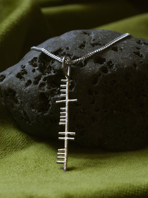 Happiness silver pendant on a black stone