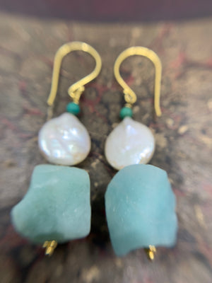 Gold Vermeil Amazonite ,Pearl & turquoise  earrings