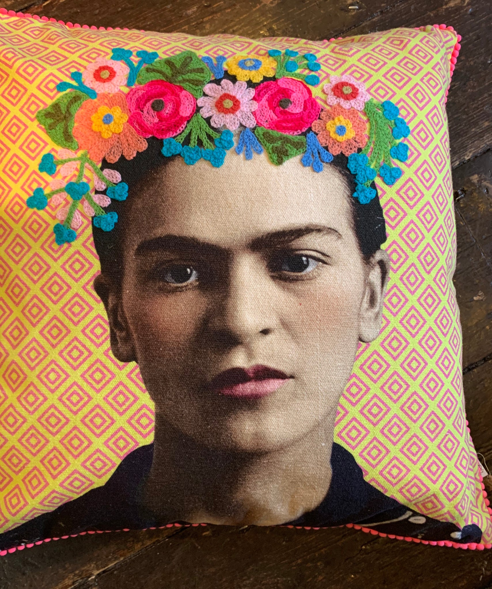 Frida Khalo Embroidered Cushion Cover