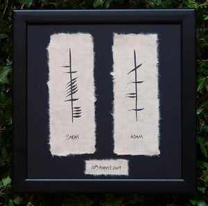 Handpainted  personaized Ogham Wedding Plaque