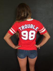 Red V-Neck Trouble T-Shirt